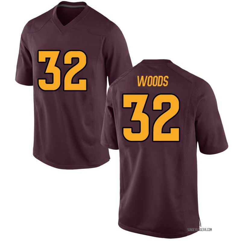 Game Men's Edward Woods Arizona State Sun Devils Maroon Football College Jersey